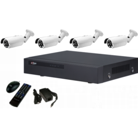 4 channel IP NVR with POE + 4, IP Bullet Cameras