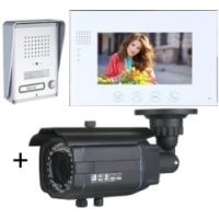 *Classic 4-wire, surface mount video doorphone + 7 inch white intercom monitor + Outside Bullet Camera