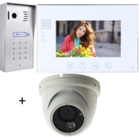 *Classic 4-wire, surface mount video doorphone & keypad + 7 inch white intercom monitor + Inside Dome Camera