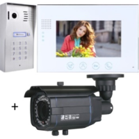 *Classic 4-wire, surface mount video doorphone & keypad + 7 inch white intercom monitor + Outside Bullet Camera