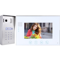 Classic 4-wire, surface mount video doorphone & keypad + 7 inch white intercom monitor