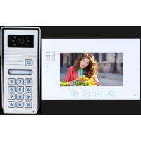*Classic 4-wire, surface mount video doorphone & keypad + 7 inch white intercom monitor