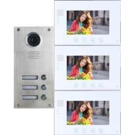 Classic 4-wire, surface mount video doorphone for 2 apartments + 3, 7 inch monitors with white surround