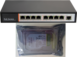 POE Network Switch + hard disk drive